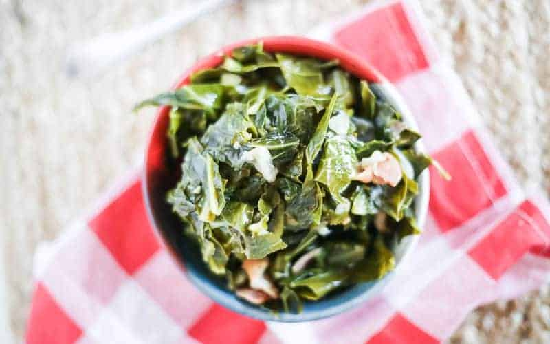instant pot collard greens on a red and white checked napkin
