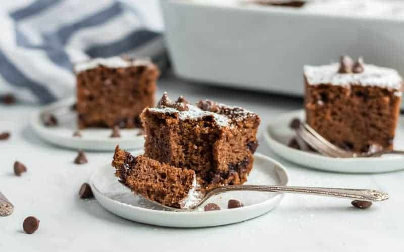 pieces of chocolate chip cake with chocolate chips on top fork on plate