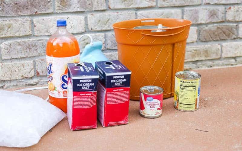 ingredients for the electric ice cream maker orange pineapple homemade ice cream