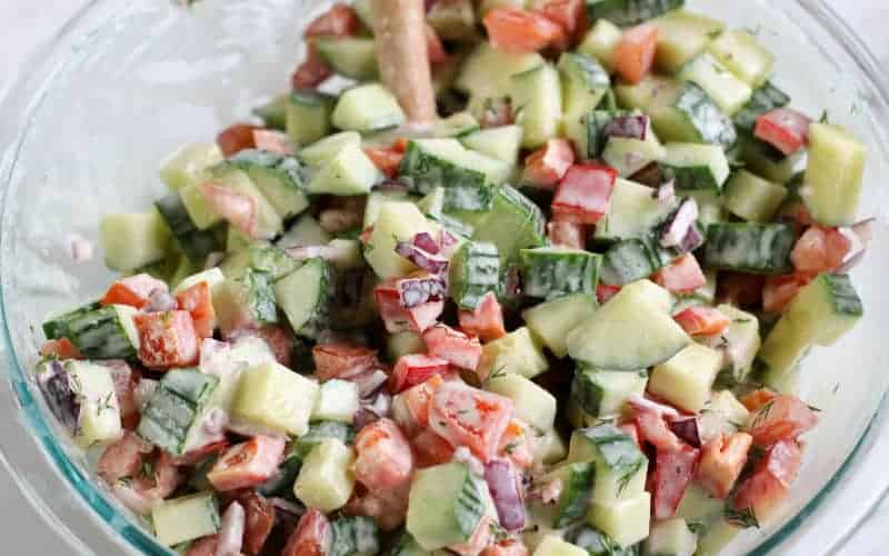 cucumber salad in glass bowl