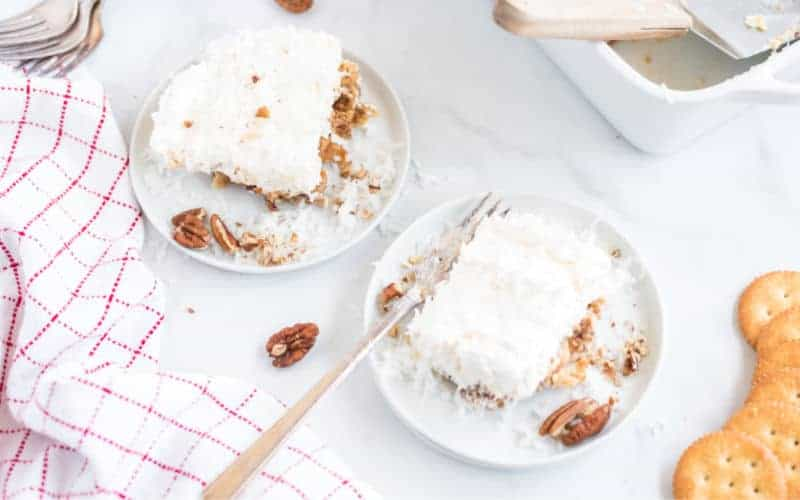 fluffy white Christmas cake with coconuts and pecans