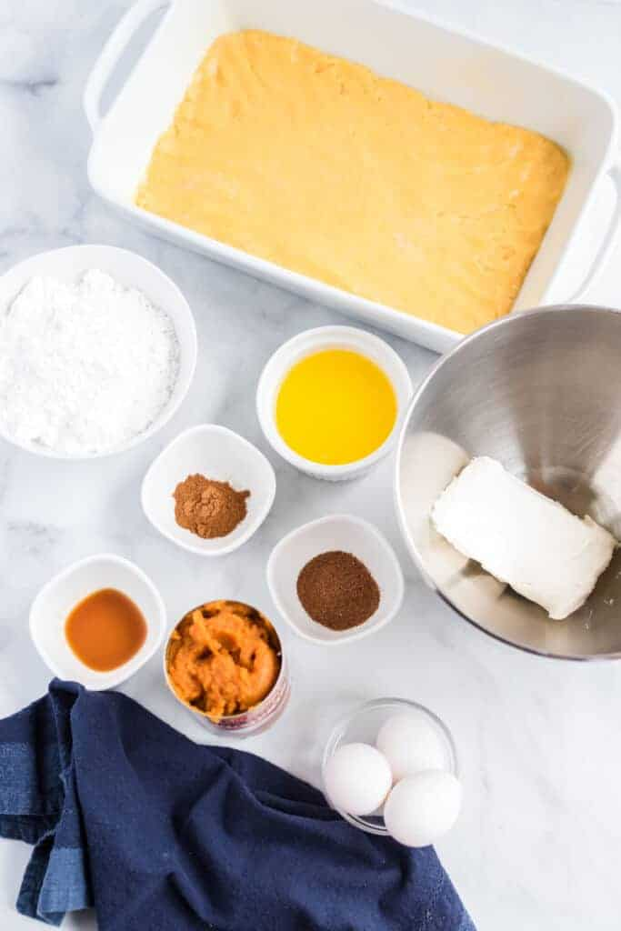 ingredients for pumpkin pie cake on a table