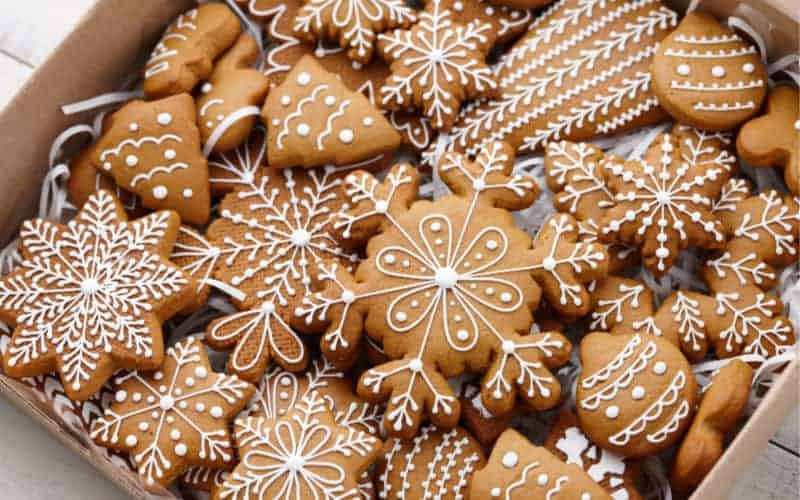 gingerbread lightly iced snowflake cookies in box