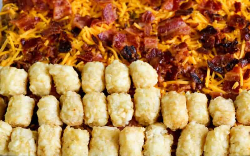 tater tots on top of cheeseburger casserole