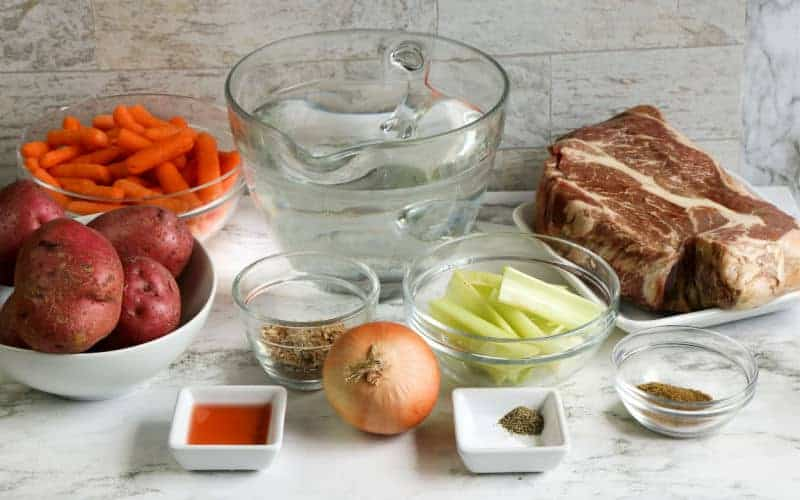 stovetop pot roast ingredients on table